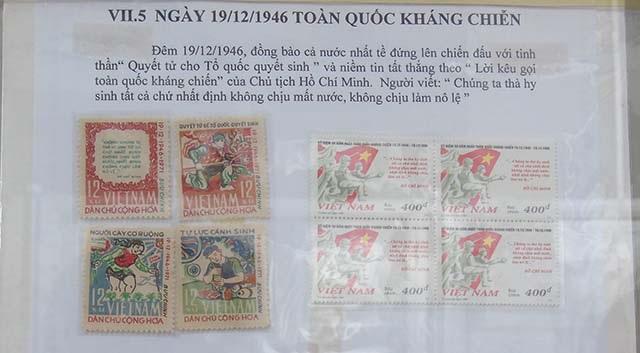 Các bộ tem được đưa ra triển lãm nhân dịp cách mạng tháng tám và quốc khánh 2/9