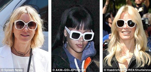 Nữ diễn viên người Anh Naomi Watts (trái), nữ ca sĩ Rihanna (giữa), và siêu mẫu Claudia Schiffer (phải) đều có những chiếc kính râm gọng trắng - sắc màu thời trang thanh lịch.