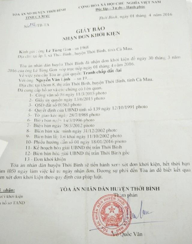 Tòa án huyện Thới Bình có giấy thông báo thụ lý vụ án từ tháng 4/2016...