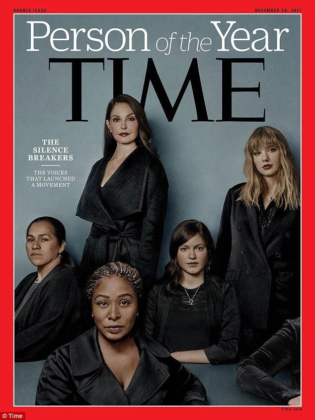 Ảnh: - Hàng sau cùng (từ trái sang phải): nữ diễn viên Ashley Judd, nữ ca sĩ Taylor Swift. - Hàng giữa (từ trái sang phải): nữ nông dân Isabel Pascual, nữ tài xế Susan Fowler. - Hàng đầu: nhà hoạt động xã hội Adama Iwu, một nữ y tá giấu tên và ẩn mặt, chỉ để lộ cánh tay trong khuôn hình.