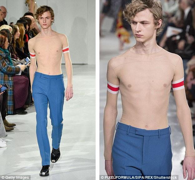 "Bên cạnh áo len xuyên thấu, còn có… áo phông xuyên thấu. Chi tiết giúp những người xung quanh nhận ra người mẫu đang thực sự có mặc ""trang phục"", nằm ở những điểm nhấn trang trí trên cánh tay."