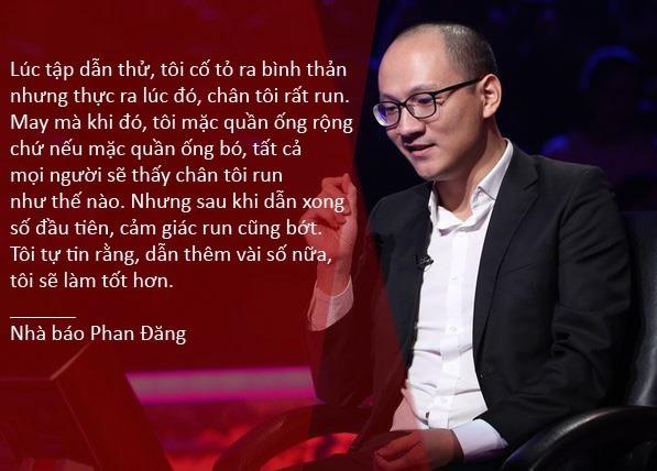 """Xem thêm: Nhà báo Phan Đăng nói gì sau buổi ghi hình """"Ai là triệu phú"""" đầu tiên? Phan Đăng có vượt nổi cái bóng của Lại Văn Sâm ở Ai là triệu phú? Nhà báo Phan Đăng trở thành MC """"Ai là triệu phú"""""""