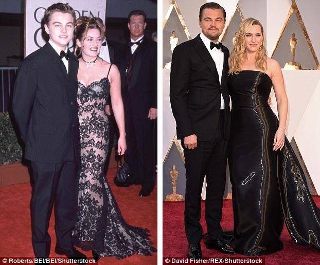 Cặp đôi đã cùng nhau tham dự nhiều sự kiện qua năm tháng, như lễ trao giải Quả Cầu Vàng năm 1998 (trái) hay lễ trao giải Oscar 2016 (phải).