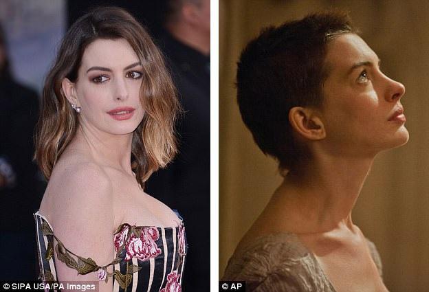 """Nữ diễn viên Anne Hathaway (34 tuổi) đã phải cắt đi mái tóc dài để nhập vai Fantine trong """"Les Miserables"""" (Những người khốn khổ - 2012), dù vậy, bù lại, Anne đã nhận được một giải Oscar và một giải Quả Cầu Vàng với vai diễn này."""