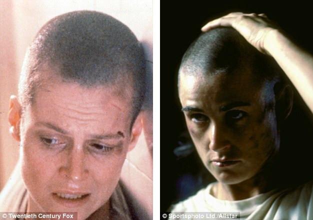 """Những nữ diễn viên đi đầu trong trào lưu """"xuống tóc"""" vì vai diễn phải kể tới nữ diễn viên Sigourney Weaver (hiện tại 67 tuổi) khi bà tham đóng phim """"Alien 3"""" (Quái vật không gian 3 - 1992). 5 năm sau, Demi Moore (hiện tại 54 tuổi) cũng để đầu đinh khi đóng phim """"GI Jane"""" (Nữ chiến binh quả cảm - 1997)."""