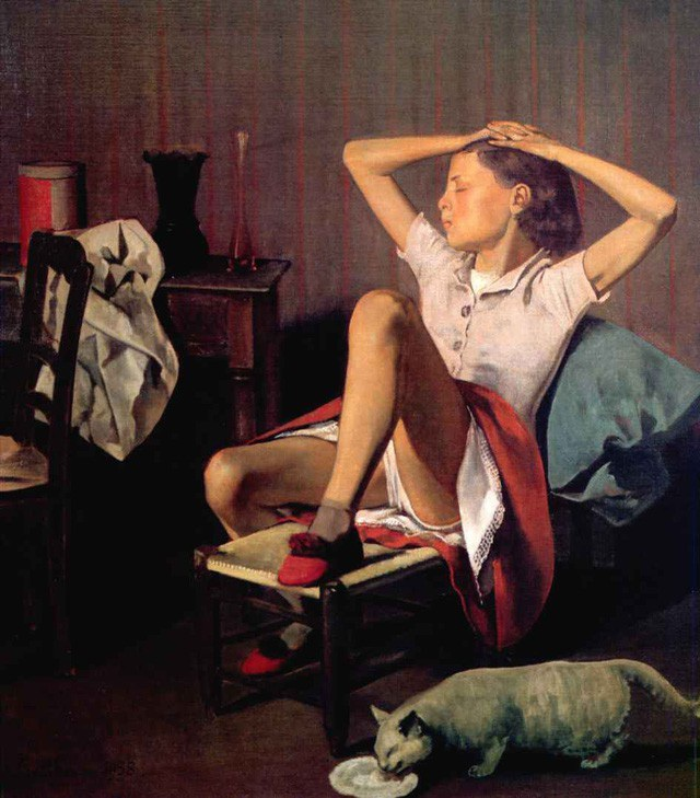 """Bức tranh của họa sĩ người Pháp Balthus - bức """"Thérèse nằm mơ"""" (ảnh) - hiện đang được treo trong Viện bảo tàng Mỹ thuật Metropolitan, nằm ở thành phố New York (Mỹ)."""