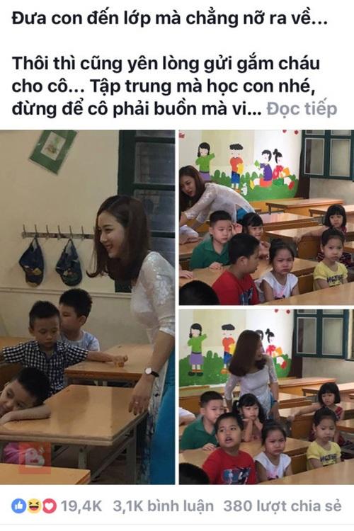 Status đăng tải hồi tháng 7 của một phụ huynh sau khi chứng kiến cảnh cô giáo trẻ xinh đẹp cùng các em học sinh trong buổi học thêm ngoại khóa tại trường.