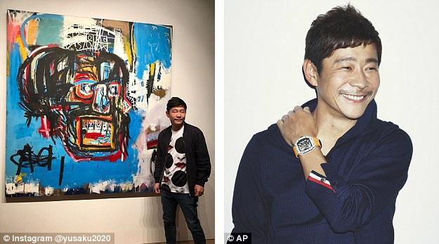 Họa sĩ Jean-Michel Basquiat đã sớm qua đời năm 1988 ở tuổi 27 vì sốc thuốc. Trong ảnh là nhà sưu tầm hội họa người Nhật Yusaku Maezawa bên bức tranh vừa đấu giá thành công.