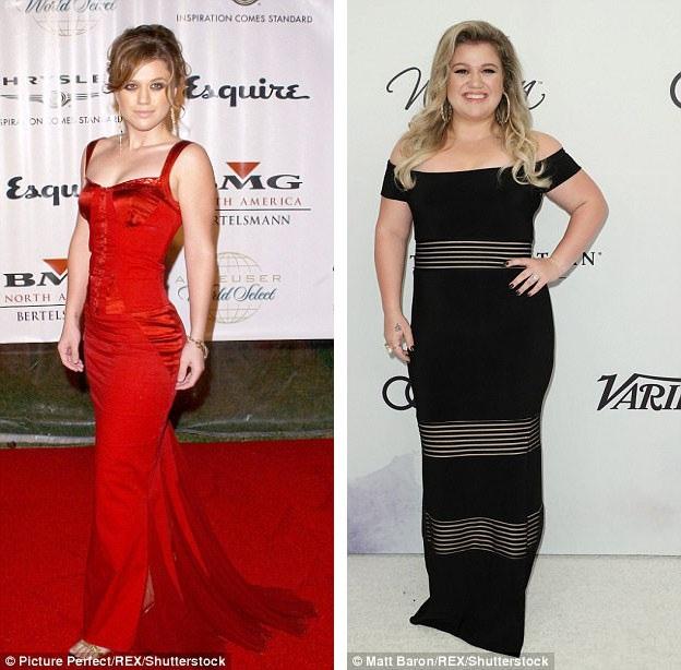 Kelly Clarkson hồi năm 2004 (trái) và 2017 (phải). Sau khi giảm cân thành công và có được vóc dáng như ý, đó chính là lúc sức khỏe tinh thần của cô xuống thấp nhất.