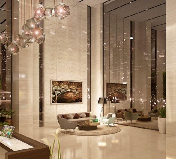 Tuy là căn hộ trung cấp nhưng từ cảnh quan, tiện ích đến nội thất đều được hoàn thiện theotiêu chuẩn cao cấp. Ảnh sảnh đón tòa nhà D.