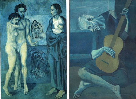 Bi kịch này được thể hiện trong loạt tranh màu xanh buồn bã của Picasso