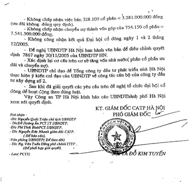 Công an TP Hà Nội kết luận ông Nguyễn Chí Sỹ cùng người thân thâu tóm cổ phần tại Công ty HACINCO.