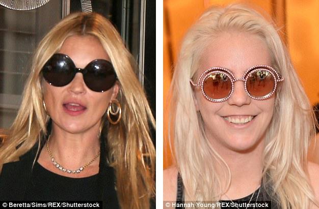 Siêu mẫu Kate Moss (trái) cũng rất thích kính gọng tròn.