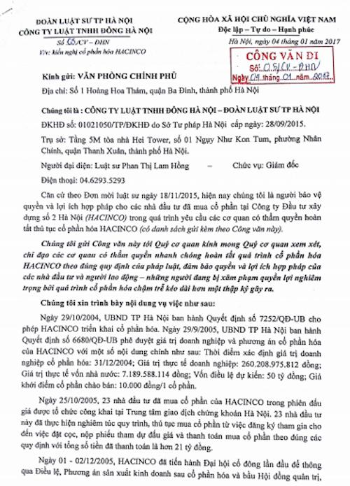 """Vụ cổ phần hoá """"vịt trời"""" tại HACINCO: Văn phòng Chính phủ đốc thúc TP Hà Nội trả lời! - 3"""