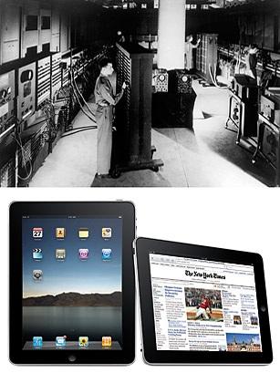 ENIAC (Electronic Numerical Integrator and Computer) là chiếc máy tính điện tử đích thực đầu tiên được nghiên cứu trên thế giới. Nó được công bố vào năm 1946, nặng 30 tấn, có kích thước khổng lồ với 6000 công tắc, 18.000 ống và tủ, và chiếm toàn bộ một căn phòng. Giờ đây thì máy tính đã nhỏ gọn hơn rất nhiều và thậm chí có thể cầm tay (máy tính bảng) một cách dễ dàng.