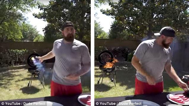 Nhóm bếp với que diêm ném từ phía sau lưng không cần nhìn.