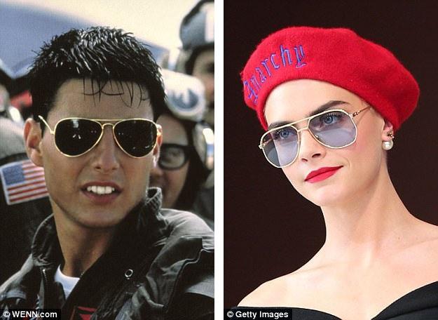 """Kính phi công đã được thiết kế từ năm 1936 và gây sốt đỉnh điểm sau khi Tom Cruise (trái) xuất hiện trong """"Top Gun"""" (Phi công siêu đẳng - 1986). Siêu mẫu Cara Delevingne (phải) từng đeo kính phi công xuất hiện trên thảm đỏ Liên hoan phim Cannes hồi mùa hè năm nay."""