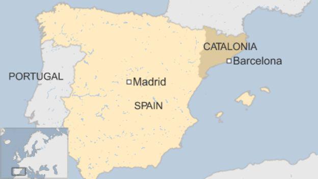 Vùng Catalonia đang muốn tách khỏi Tây Ban Nha để trở thành một quốc gia độc lập (Đồ họa: BBC)