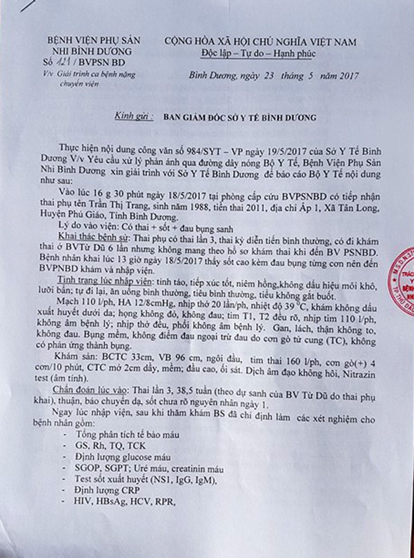 Giải trình ca bệnh nặng chuyển viện qua phản ánh đường dây nóng Bộ Y tế gửi Ban Giám đốc Sở Y tế tỉnh Bình Dương do bà Huỳnh Thị Kim Thi, Giám đốc Bệnh viện Phụ sản Nhi Bình Dương ký.