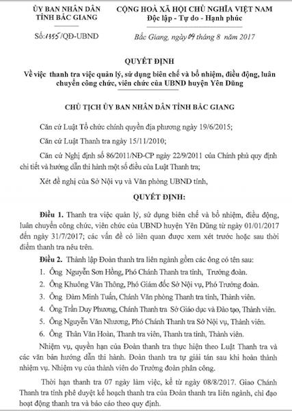 Chủ tịch tỉnh Bắc Giang chỉ đạo lập đoàn thanh tra việc điều động, bổ nhiệm công chức, viên chức - 1