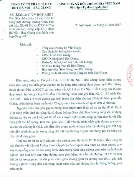 Bắc Giang: Nhà đầu tư đề nghị hàng loạt cơ quan xử lý hành vi hủy hoại đường gom cao tốc - 1