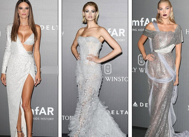 Ba siêu mẫu: Alessandra Ambrosio, Hailey Clauson và Elsa Hosk dự tiệc từ thiện amfAR Gala tổ chức tại Milan ngày 21/9 vừa qua