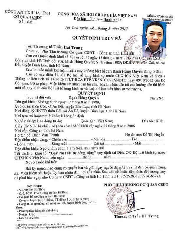 Quyết định truy nã đối tượng Bạch Hồng Quyền của Cơ quan Cảnh sát điều tra Công an tỉnh Hà Tĩnh.