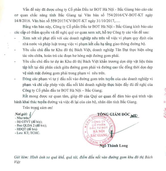Nhà đầu tư đề nghị hàng loạt cơ quan xử lý hành vi hủy hoại đường gom cao tốc Hà Nội - Bắc Giang.