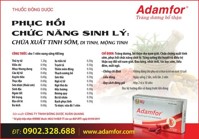 Để biết thêm thông tin về thuốc, vui lòng tham khảo website www.adamfor.com