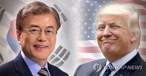 Tổng thống Hàn Quốc Moon Jae-in và Tổng thống Mỹ Donald Trump (Ảnh: Yonhap)