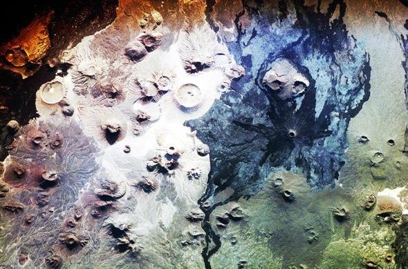 Harrat Khaybar nhìn từ không gian.