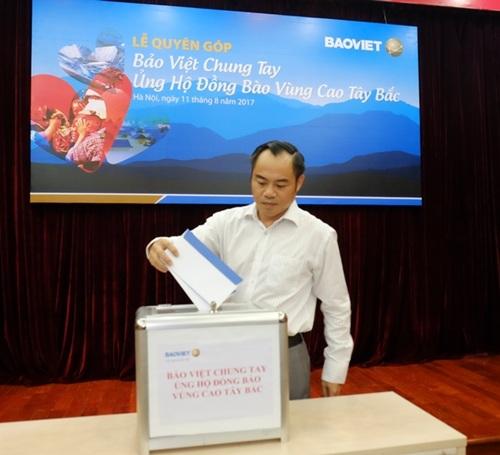 Ông Nguyễn Quang Phi - Tổng Giám đốc Tập đoàn Bảo Việt phát động Lễ quyên góp Bảo Việt Chung tay ủng hộ đồng bào vùng cao Tây Bắc.
