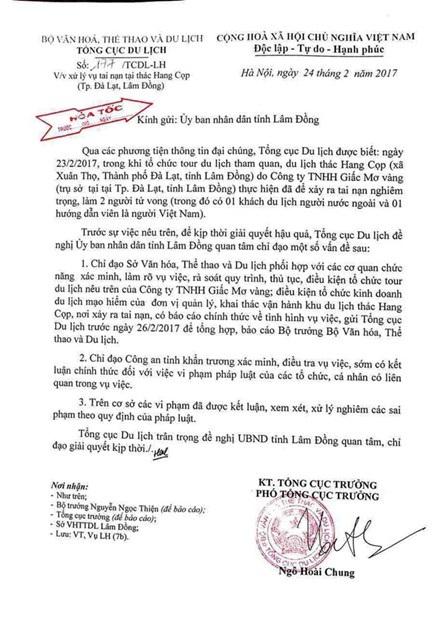 Công văn hỏa tốc của Tổng cục Du lịch gửi UBND tỉnh Lâm Đồng
