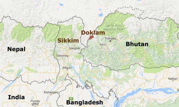 Cao nguyên Doklam, nơi xảy ra căng thẳng giữa Ấn Độ và Trung Quốc gần đây (Ảnh: Google Maps)