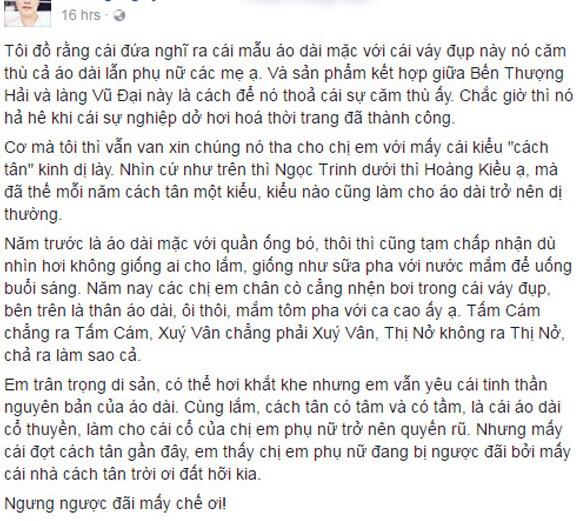 Quan điểm gây nhiều tranh cãi của facebook Hoàng Nguyên Vũ