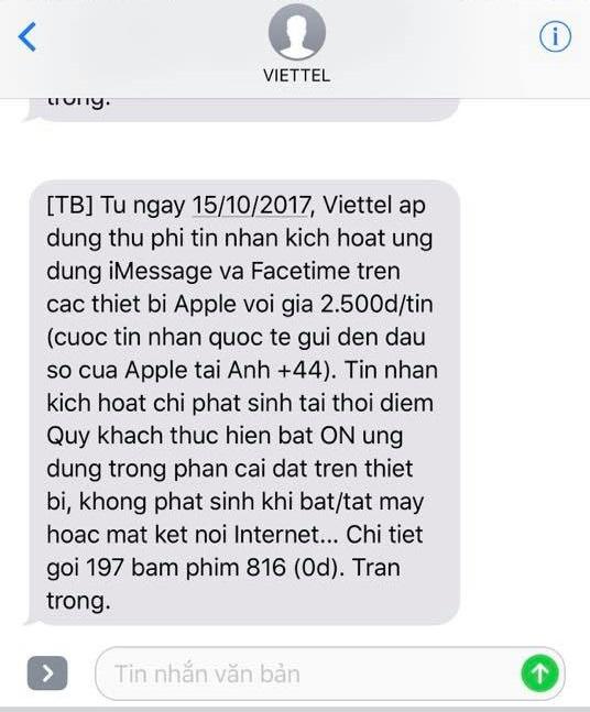 Tin nhắn Viettel gửi đến khách hàng