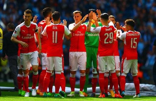 Arsenal ăn mừng chiến thắng trước Man City ở FA Cup cuối tuần qua