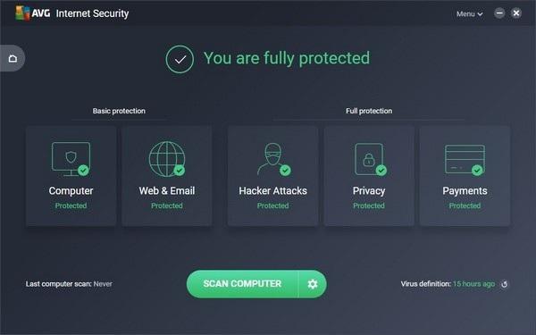 Giao diện AVG Internet Security 2018 có sự thay đổi so với phiên bản trước đây