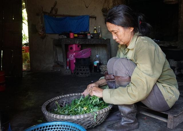 Chị Thanh chuẩn bị nấu cơm, món ăn chủ lực của gia đình vẫn là rau