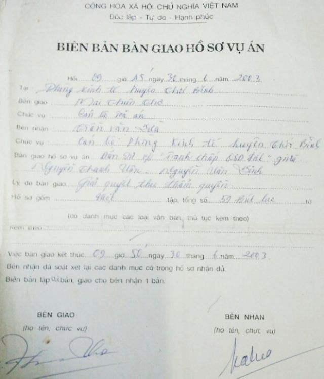 Vụ án từng được TAND huyện Thới Bình bàn giao cho Phòng Kinh tế huyện Thới Bình để giải quyết theo thẩm quyền.