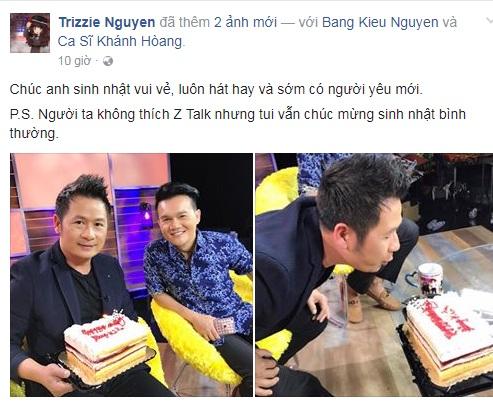 Khi chúc mừng sinh nhật chồng cũ trên Facebook, Trizzie Phương Trinh vô tình làm lộ thông tin Bằng Kiều đã chia tay Dương Mỹ Linh.