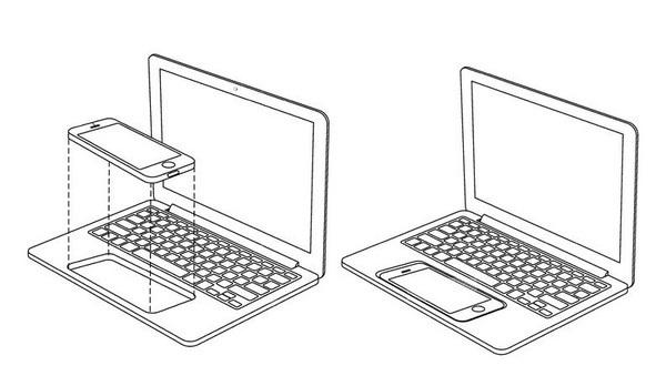 """Bằng sáng chế biến iPhone thành một chiếc laptop, trong đó iPhone vừa là trackpad vừa là """"bộ não"""" cho laptop."""