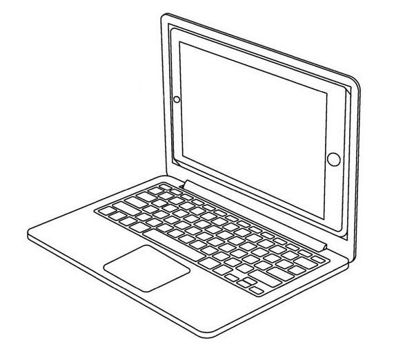 """Tương tự bằng sáng chế biến iPad thành laptop, trong đó iPad vừa là màn hình hiển thị vừa là """"bộ não"""" của laptop"""