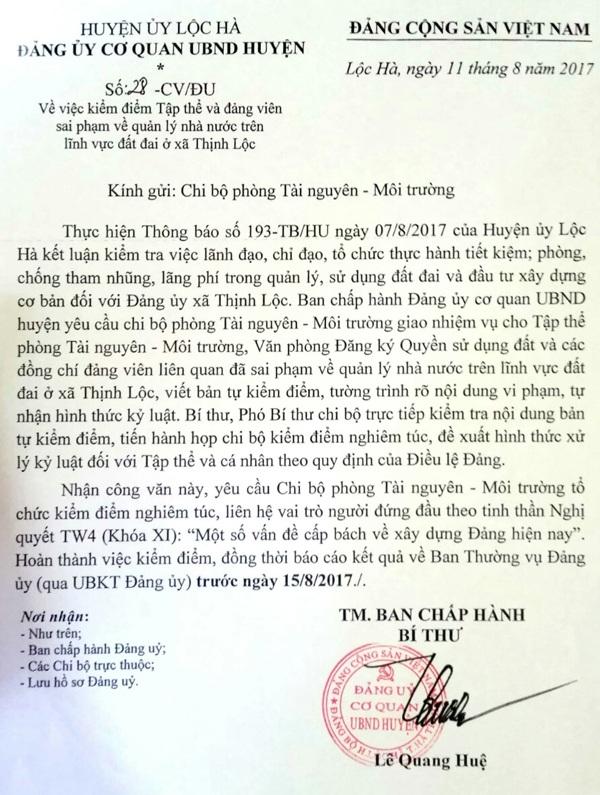 Đảng ủy Cơ quan UBND huyện Lộc Hà yêu cầu cán bộ liên quan viết kiểm điểm, tường trình, tự nhận hình thức kỷ luật để huyện xem xét, xử lí.