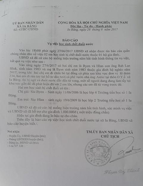 Báo cáo nhanh của UBND xã Ia Băng về 2 em học sinh bị đuối