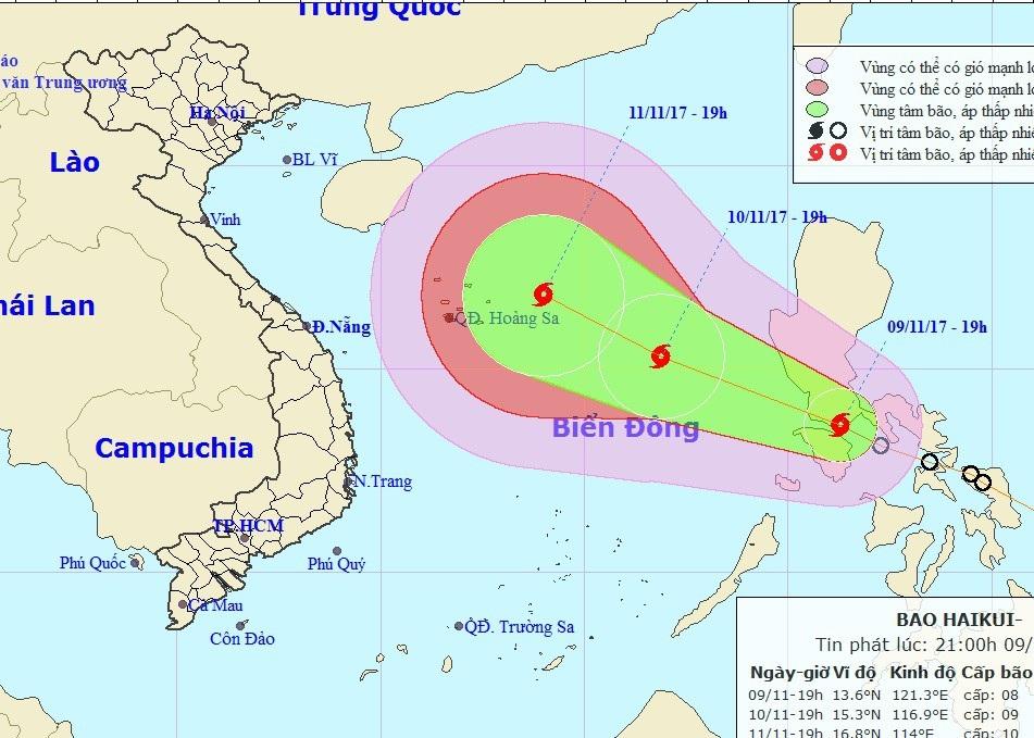 Vị trí và hướng di chuyển của bão Haikui. (Ảnh: NCHMF).