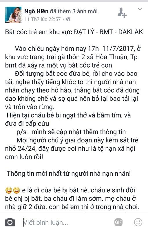 Tài khoản facebook Ngô Hiền đăng tải nội dung bé gái bị bắt cóc không có thực gây hoang mang dư luận