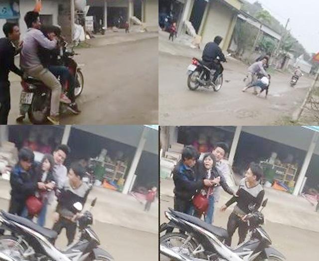 Cô gái bị nhóm nam thanh niên ép đưa lên xe máy, chở đi. Sau nỗ lực vùng vẫy, cô gái đã chạy thoát (ảnh cắt từ clip).