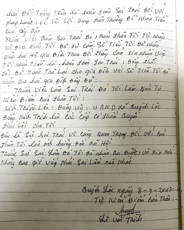 Bản tự kiểm điểm của ông Trình gửi UBND xã Quỳnh Lộc.