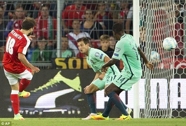 Bồ Đào Nha đã thua Thụy Sỹ 0-2 ở ngày mở màn bảng B vòng loại World Cup 2018